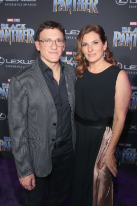 HOLLYWOOD, CA - JANUARY 29: Director Anthony Russo (L) and guest at the Los Angeles World Premiere of Marvel Studios' BLACK PANTHER at Dolby Theatre on January 29, 2018 in Hollywood, California. (Photo by Jesse Grant/Getty Images for Disney) *** Local Caption *** Anthony Russo