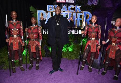 HOLLYWOOD, CA - JANUARY 29: Rapper Snoop Dogg (C) at the Los Angeles World Premiere of Marvel Studios' BLACK PANTHER at Dolby Theatre on January 29, 2018 in Hollywood, California. (Photo by Alberto E. Rodriguez/Getty Images for Disney) *** Local Caption *** Snoop Dogg