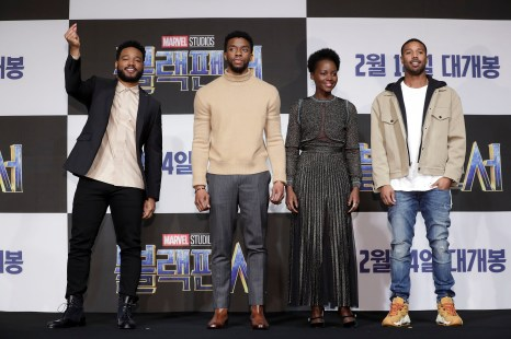 SEOUL, SOUTH KOREA - FEBRUARY 05: Director Ryan Coogler, Actor Chadwick Boseman, Lupita NyongÕo and Michael B. Jordan(from L to R) attend the press conference for the Seoul premiere of 'Black Panther' on February 5, 2018 in Seoul, South Korea. (Photo by Han Myung-Gu/Getty Images for Disney) *** Local Caption *** Ryan Coogler; Actor Chadwick Boseman; Lupita NyongÕo; Michael B. Jordan
