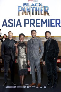 SEOUL, SOUTH KOREA - FEBRUARY 05: Actor Michael B. Jordan, Lupita Nyong'o, Chadwick Boseman and director Ryan Coogler(Left to Right) arrive at the red carpet of the Seoul premiere of 'Black Panther' on February 5, 2018 in Seoul, South Korea. (Photo by Han Myung-Gu/Getty Images for Disney) *** Local Caption *** Michael B. Jordan; Lupita Nyong'o; Chadwick Boseman; Ryan Coogler