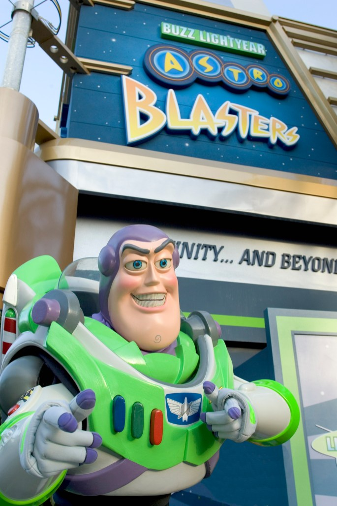 BUZZ LIGHTYEAR ASTRO BLASTERS — Guests pilot their very own Star Cruiser through an interactive space mission where they twist, turn and fire personal laser cannons for points at Buzz Lightyear Astro Blasters in Tomorrowland at Disneyland Park in Anaheim, Calif. For editorial news use only. (Paul Hiffmeyer/Disneyland)