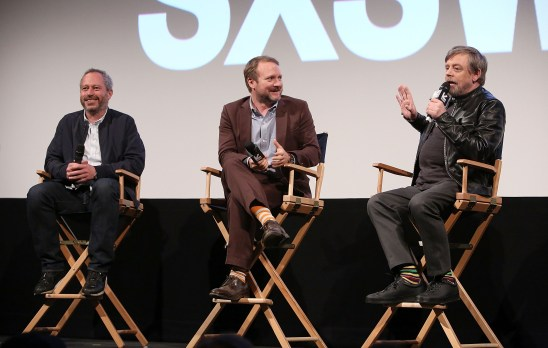 """AUSTIN, TX - MARCH 12: (L-R) Director Anthony Wonke, Writer/Director Rian Johnson and actor Mark Hamill attend the Star Wars: The Last Jedi """"The Director and The Jedi"""" SXSW Documentary Premiere at Paramount Theatre on March 12, 2018 in Austin, Texas. (Photo by Jesse Grant/Getty Images for Disney) *** Local Caption *** Anthony Wonke;Rian Johnson;Mark Hamill"""