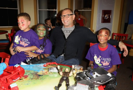 KISSIMMEE, FL - MARCH 01: Dave Bautista makes a surprise appearance to help celebrate Hasbro's donation of $1 million USD worth of cash and product to the organization on March 1, 2018 in Kissimmee, Florida. (Photo by John Parra/Getty Images for Marvel)