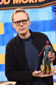 Marvel Studios' Avengers Infinity War talent Paul Bettany with his Hot Toys Vision figure