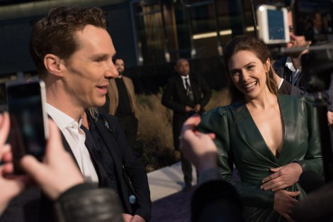 LONDON, ENGLAND - APRIL 08: Benedict Cumberbatch (L) and Elizabeth Olson (R) attend the UK Fan Event to celebrate the release of Marvel Studios' 'Avengers: Infinity War' at The London Television Centre on April 8, 2018 in London, England. (Photo by Gareth Cattermole/Gareth Cattermole/Getty Images for Disney)