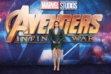 LONDON, ENGLAND - APRIL 08: Elizabeth Olsen attends the UK Fan Event to celebrate the release of Marvel Studios' 'Avengers: Infinity War' at The London Television Centre on April 8, 2018 in London, England.