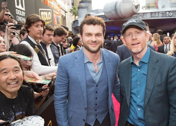 "Alden Enrenreich and Ron Howard pose together at the world premiere of ""Solo: A Star Wars Story"" in Hollywood on May 10, 2018..(Photo: Alex J. Berliner/ABImages)."