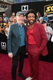 "Ron Howard and Donald Glover attends the world premiere of ""Solo: A Star Wars Story"" in Hollywood on May 10, 2018. (Photo: Alex J. Berliner/ABImages)"