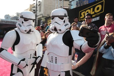 "Stormtroopers 'selfie' at the world premiere of ""Solo: A Star Wars Story"" in Hollywood on May 10, 2018. (Photo: Alex J. Berliner/ABImages)"