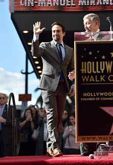 LOS ANGELES, CALIFORNIA - NOVEMBER 30: Lin-Manuel Miranda (L) and Hollywood Chamber of Commerce, President/CEO Leron Gubler attend the ceremony honoring Lin-Manuel Miranda with a Star on the Hollywood Walk of Fame on November 30, 2018 in Hollywood, California. (Photo by Alberto E. Rodriguez/Getty Images for Disney)