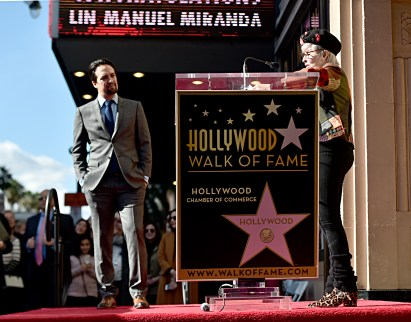LOS ANGELES, CALIFORNIA - NOVEMBER 30: Lin-Manuel Miranda (L) and Rita Moreno attend the ceremony honoring Lin-Manuel Miranda with a Star on the Hollywood Walk of Fame on November 30, 2018 in Hollywood, California. (Photo by Alberto E. Rodriguez/Getty Images for Disney)