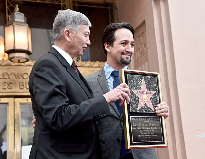 LOS ANGELES, CALIFORNIA - NOVEMBER 30: Hollywood Chamber of Commerce, President/CEO Leron Gubler (L) and Lin-Manuel Miranda attend the ceremony honoring Lin-Manuel Miranda with a Star on the Hollywood Walk of Fame on November 30, 2018 in Hollywood, California. (Photo by Alberto E. Rodriguez/Getty Images for Disney)