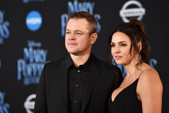 HOLLYWOOD, CA - NOVEMBER 29: Matt Damon (L) and Luciana Barroso attend Disney's 'Mary Poppins Returns' World Premiere at the Dolby Theatre on November 29, 2018 in Hollywood, California. (Photo by Alberto E. Rodriguez/Getty Images for Disney) *** Local Caption *** Matt Damon; Luciana Barroso