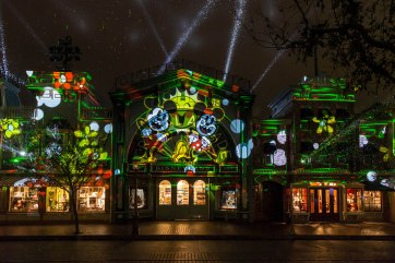 ÒMickeyÕs Mix MagicÓ lights up the night at Disneyland Park with a new high-energy projection show celebrating the one and only Mickey Mouse. The nightly extravaganza creates a family-fun dance party throughout the park with ÒDJÓ Mickey spinning the new celebration song, ÒItÕs a Good TimeÓ along with new, fun takes on favorite Disney songs. On select nights, ÒMickeyÕs Mix MagicÓ is enhanced with the addition of fireworks. Disneyland Resort is located in Anaheim, Calif. (Joshua Sudock/Disneyland Resort)