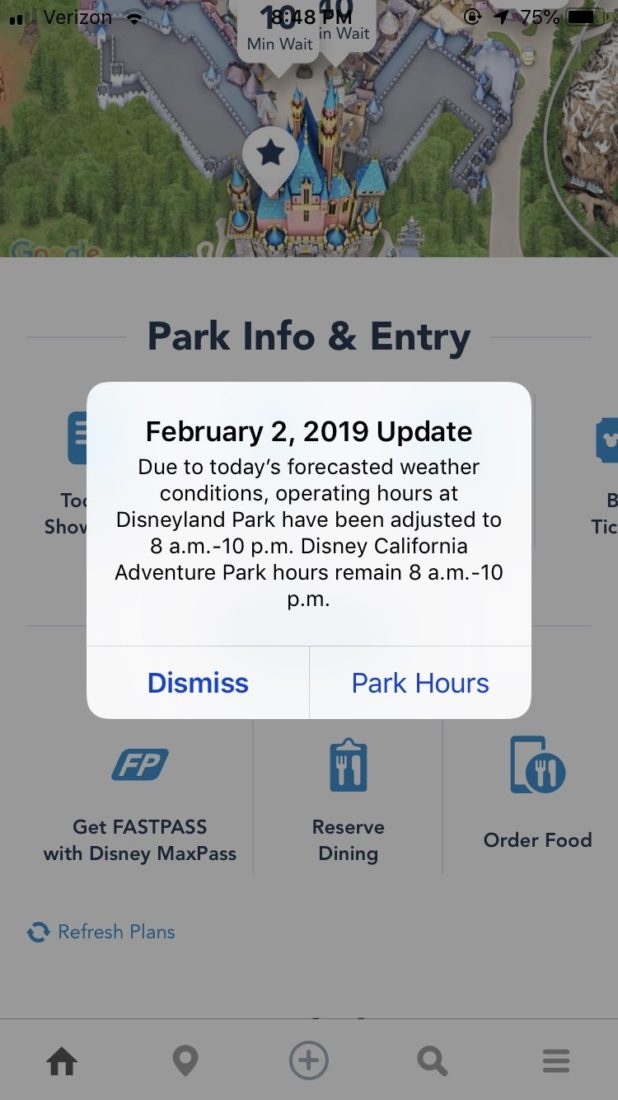 Disneyland Closing Early Due to Rain - Disneyland App Announcement