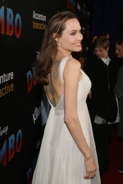 """LOS ANGELES, CA - MARCH 11: Angelina Jolie attends the World Premiere of Disney's """"Dumbo"""" at the El Capitan Theatre on March 11, 2019 in Los Angeles, California. (Photo by Jesse Grant/Getty Images for Disney) *** Local Caption *** Angelina Jolie"""