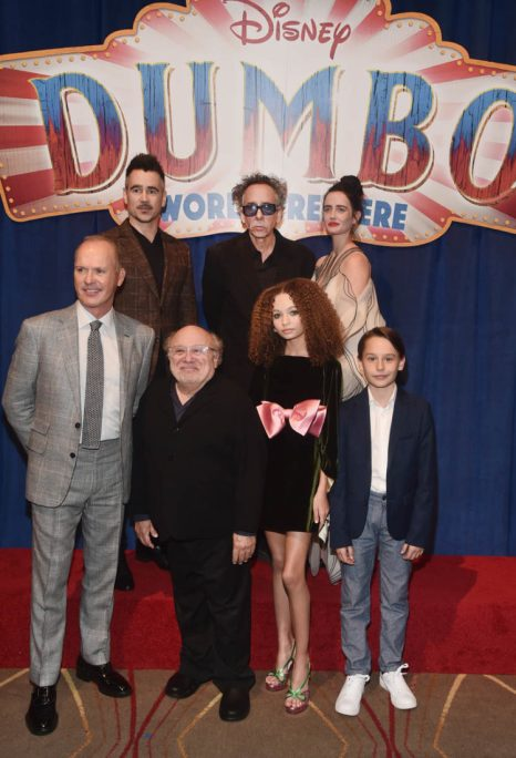"""LOS ANGELES, CA - MARCH 11: (Top L-R) Actor Colin Farrell, Director/executive producer Tim Burton and actor Eva Green. (Bottom L-R) Actors Michael Keaton, Danny DeVito, Nico Parker and Finley Hobbins attend the World Premiere of Disney's """"Dumbo"""" at the El Capitan Theatre on March 11, 2019 in Los Angeles, California. (Photo by Alberto E. Rodriguez/Getty Images for Disney) *** Local Caption *** Colin Farrell; Tim Burton; Eva Green; Michael Keaton; Danny DeVito; Nico Parker; Finley Hobbins"""