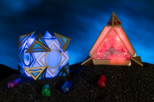 There are many rare and unique items to be discovered at Dok-Ondar's Den of Antiquities inside Star Wars: GalaxyÕs Edge. Holocrons, pictured here, are ancient repositories of wisdom. Jedi and Sith used them to record their teachings for future generations seeking to understand the mysteries of the Force. Kyber crystals can unlock additional content in both the Jedi and Sith Holocrons. Star Wars: GalaxyÕs Edge opens May 31, 2019, at Disneyland Resort in California and Aug. 29, 2019, at Walt Disney World Resort in Florida. (David Roark/Disney Parks)