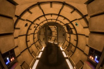 Millennium Falcon: Smugglers Run in Star Wars: Galaxy's Edge will let Disney guests explore memorable areas of the fastest ship in the galaxy before taking the controls in one of three unique and critical roles. Star Wars: Galaxy's Edge will open May 31, 2019, at Disneyland Resort in California and Aug. 29, 2019, at Walt Disney World Resort in Florida. (Joshua Sudock/Disney Parks)