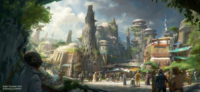 Star Wars: Galaxy's Edge will open May 31, 2019, at Disneyland Park in Anaheim, California, and Aug. 29, 2019, at Disney's Hollywood Studios in Lake Buena Vista, Florida. At 14 acres each, Star Wars: GalaxyÕs Edge will be Disney's largest single-themed land expansions ever, transporting guests to live their own Star Wars adventures in Black Spire Outpost, a village on the remote planet of Batuu, full of unique sights, sounds, smells and tastes. Guests can become part of the story as they sample galactic food and beverages, explore an intriguing collection of merchant shops and take the controls of the most famous ship in the galaxy aboard Millennium Falcon: Smugglers Run. (Disney Parks)