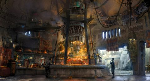 Exotic eats from around the galaxy will be available at Star Wars: Galaxy's Edge when it opens May 31, 2019, at Disneyland Park in Anaheim, California, and Aug. 29, 2019, at Disney's Hollywood Studios in Lake Buena Vista, Florida. Ronto Roasters will feature savory meats spit-roasted over a former Podracer engine. (Disney Parks)