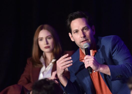 """LOS ANGELES, CA - APRIL 07: Karen Gillan (L) and Paul Rudd speak onstage during Marvel Studios' """"Avengers: Endgame"""" Global Junket Press Conference at the InterContinental Los Angeles Downtown on April 7, 2019 in Los Angeles, California. (Photo by Alberto E. Rodriguez/Getty Images for Disney) *** Local Caption *** Karen Gillan; Paul Rudd"""