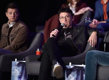 """LOS ANGELES, CA - APRIL 07: Jeremy Renner (L) and Director Anthony Russo speak onstage during Marvel Studios' """"Avengers: Endgame"""" Global Junket Press Conference at the InterContinental Los Angeles Downtown on April 7, 2019 in Los Angeles, California. (Photo by Alberto E. Rodriguez/Getty Images for Disney) *** Local Caption *** Jeremy Renner; Anthony Russo"""