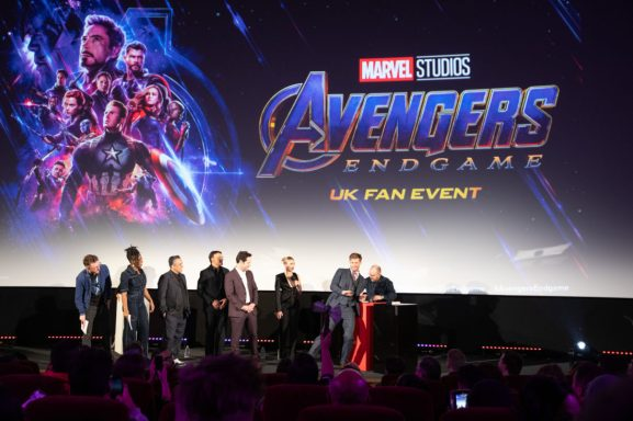 Joe Russo, Anthony Russo, Paul Rudd, Scarlett Johansson and Chris Hemsworth attend the UK Fan Event to celebrate the release of Marvel Studios' 'Avengers: Endgame' at Picturehouse Central on April 10, 2019 in London, England.