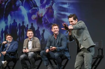 Global Tour Shanghai, China Press Conference L to R: Anthony Russo, Jeremy Renner, Chris Hemsworth and Paul Rudd