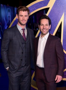 """LONDON, ENGLAND - APRIL 10: (L-R) Chris Hemsworth and Paul Rudd attend the UK Fan Event to celebrate the release of Marvel Studios' """"Avengers: Endgame"""" at Picturehouse Central on April 10, 2019 in London, England. (Photo by Eamonn M. McCormack/Getty Images for Disney)"""