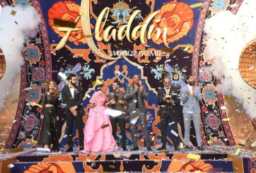 "LOS ANGELES, CA - MAY 21: (L-R) Actors Nasim Pedrad, Marwan Kenzari, Naomi Scott, Mena Massoud, Will Smith, Navid Negahban and Numan Acar attend the World Premiere of Disney's ""Aladdin"" at the El Capitan Theater in Hollywood CA on May 21, 2019, in the culmination of the film's Magic Carpet World Tour with stops in Paris, London, Berlin, Tokyo, Mexico City and Amman, Jordan. (Photo by Jesse Grant/Getty Images for Disney) *** Local Caption *** Nasim Pedrad; Marwan Kenzari; Naomi Scott; Mena Massoud; Will Smith; Navid Negahban; Numan AcarNuman Acar"
