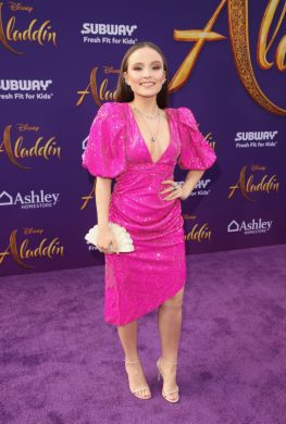 "LOS ANGELES, CA - MAY 21: Larissa Manoela attends the World Premiere of Disney's ""Aladdin"" at the El Capitan Theater in Hollywood CA on May 21, 2019, in the culmination of the film's Magic Carpet World Tour with stops in Paris, London, Berlin, Tokyo, Mexico City and Amman, Jordan. (Photo by Jesse Grant/Getty Images for Disney) *** Local Caption *** Larissa Manoela"