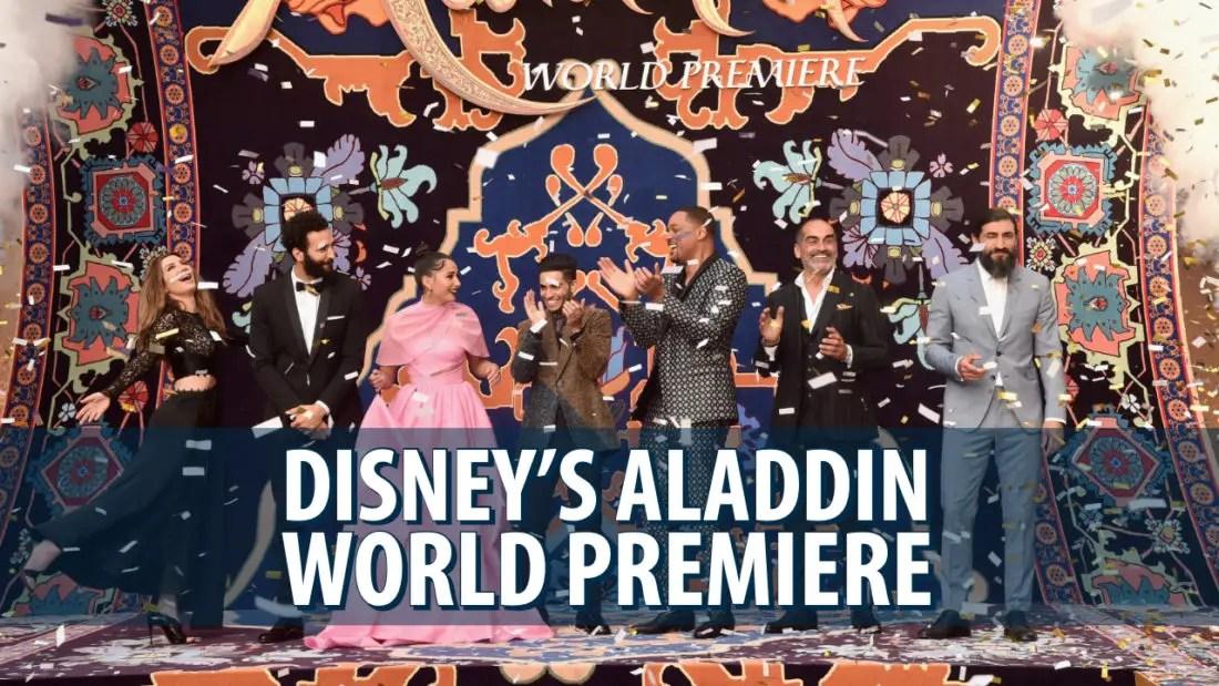 Cast and Crew of Disney's Aladdin Walk Magic Purple Carpet for Hollywood World Premiere
