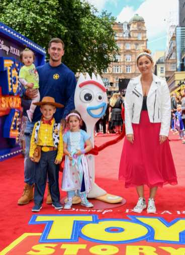 """LONDON, ENGLAND - JUNE 16: Dan Osborne, Jacqueline Jossa and family attend the European premiere of Disney and Pixar's """"Toy Story 4"""" at the Odeon Luxe Leicester Square on June 16, 2019 in London, England. (Photo by Gareth Cattermole/Getty Images for Disney and Pixar)"""