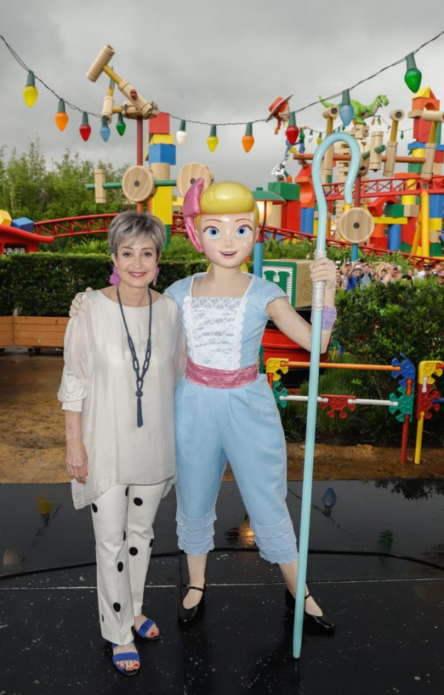 ORLANDO, FLORIDA - JUNE 08: Annie Potts visits Toy Story Land at Disney's Hollywood Studios on June 08, 2019 in Orlando, Florida. (Photo by John Parra/Getty Images for Disney)