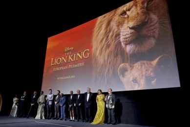 Clara Amfo, Jon Favreau, Keegan-Michael Key, Florence Kasumba, Billy Eichner, Seth Rogen, Lebo M, Pharrell Williams, Hans Zimmer, Sir Tim Rice, Beyonce Knowles-Carter and Sir Elton John attend the European Premiere of DisneyÕs ÒThe Lion KingÓ at the Odeon Leicester Square on 14th July 2019 in London, UK