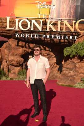 """HOLLYWOOD, CALIFORNIA - JULY 09: Pedro Pascal attends the World Premiere of Disney's """"THE LION KING"""" at the Dolby Theatre on July 09, 2019 in Hollywood, California. (Photo by Alberto E. Rodriguez/Getty Images for Disney)"""