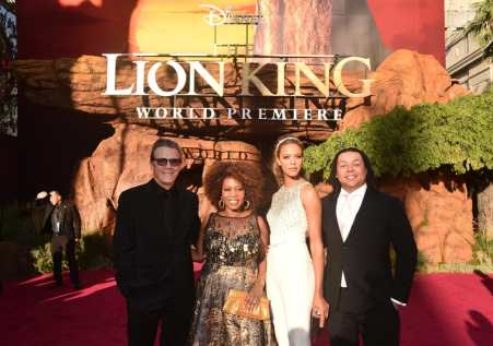 """HOLLYWOOD, CALIFORNIA - JULY 09: (L-R) Roderick Spencer, Alfre Woodard, Mavis Spencer, and Duncan Spencer attend the World Premiere of Disney's """"THE LION KING"""" at the Dolby Theatre on July 09, 2019 in Hollywood, California. (Photo by Alberto E. Rodriguez/Getty Images for Disney)"""