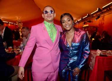 """HOLLYWOOD, CALIFORNIA - JULY 09: Eric Andre (L) and Tiffany Haddish attend the World Premiere of Disney's """"THE LION KING"""" at the Dolby Theatre on July 09, 2019 in Hollywood, California. (Photo by Alberto E. Rodriguez/Getty Images for Disney)"""