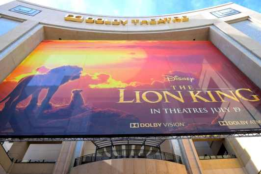 """HOLLYWOOD, CALIFORNIA - JULY 09: Signage is seen during the World Premiere of Disney's """"THE LION KING"""" at the Dolby Theatre on July 09, 2019 in Hollywood, California. (Photo by Alberto E. Rodriguez/Getty Images for Disney)"""