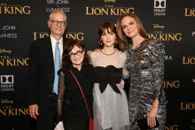 """HOLLYWOOD, CALIFORNIA - JULY 09: (L-R) Director of Photography Caleb Deschanel, Mary Jo Deschanel, Zooey Deschanel, and Emily Deschanel attend the World Premiere of Disney's """"THE LION KING"""" at the Dolby Theatre on July 09, 2019 in Hollywood, California. (Photo by Jesse Grant/Getty Images for Disney)"""