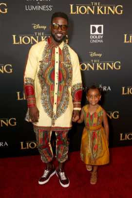 """HOLLYWOOD, CALIFORNIA - JULY 09: Lance Gross (L) and Berkeley Brynn Gross attend the World Premiere of Disney's """"THE LION KING"""" at the Dolby Theatre on July 09, 2019 in Hollywood, California. (Photo by Jesse Grant/Getty Images for Disney)"""
