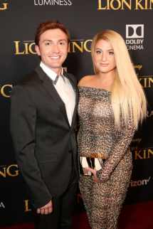 """HOLLYWOOD, CALIFORNIA - JULY 09: Daryl Sabara (L) and Meghan Trainor attend the World Premiere of Disney's """"THE LION KING"""" at the Dolby Theatre on July 09, 2019 in Hollywood, California. (Photo by Jesse Grant/Getty Images for Disney)"""