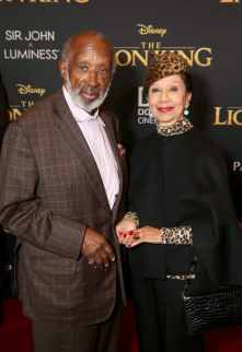 """HOLLYWOOD, CALIFORNIA - JULY 09: Clarence Avant (L) and Jacqueline Avant attend the World Premiere of Disney's """"THE LION KING"""" at the Dolby Theatre on July 09, 2019 in Hollywood, California. (Photo by Jesse Grant/Getty Images for Disney)"""