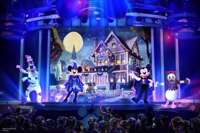 """During Oogie Boogie Bash – A Disney Halloween Party at Disney California Adventure Park, from Sept. 17-Oct. 31, 2019, guests will be able to experience all-new entertainment. The new """"Mickey's Trick and Treat"""" show at the Disney Theater in Hollywood Land invites guests of all ages to join Mickey Mouse and his pals as they throw a one-of-a-kind Halloween party that include dancing, not-so-frightening scary-tales, and candy. Oogie Boogie Bash – A Disney Halloween Party is a separate-ticket event. (Disneyland Resort)"""