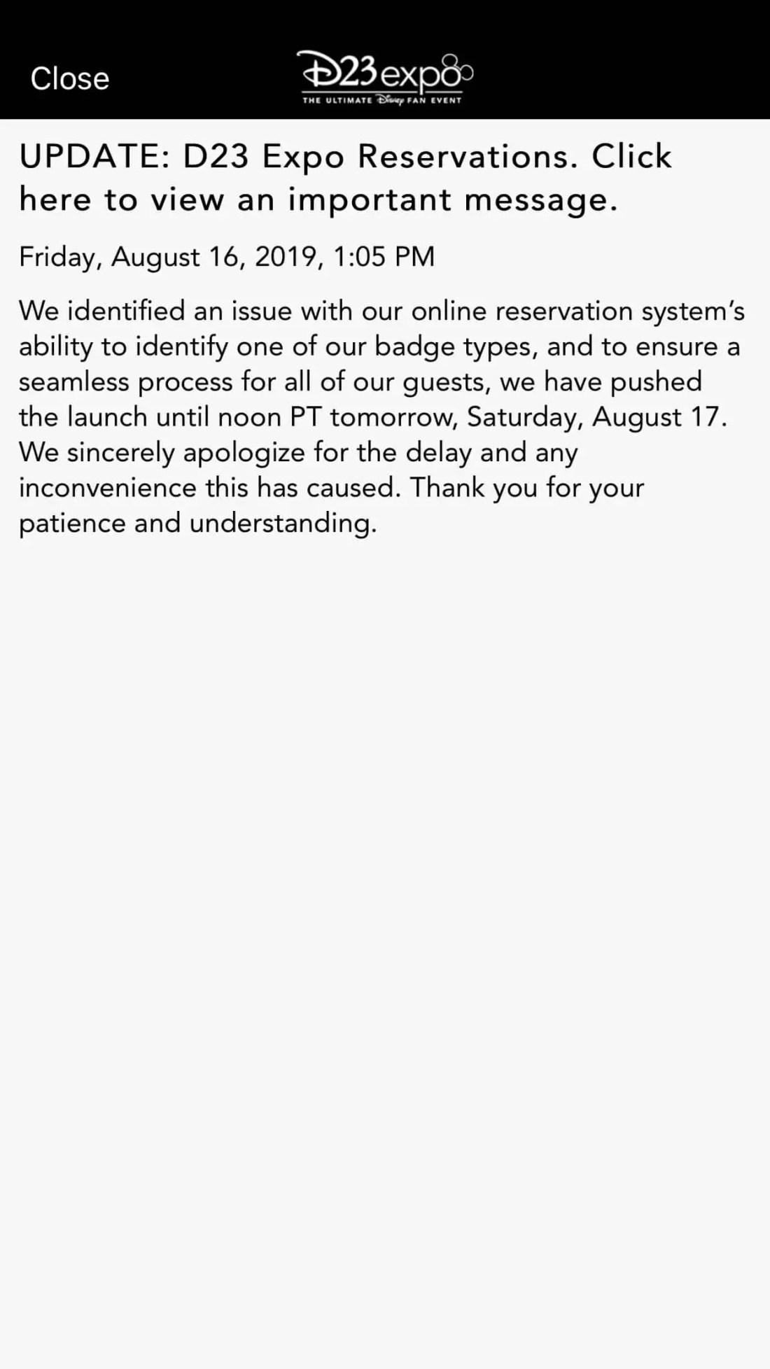 D23 Expo Reservations Announcement Via D23 Expo App