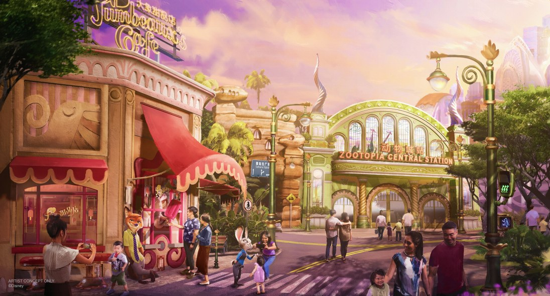 """The """"Zootopia""""-themed land coming to Shanghai Disney Resort will feature a major new attraction that blends storytelling and state-of-the-art technology to bring this favorite film to life. Guests can expect immersive entertainment, merchandise, and dining options that can only be found in this mammalian metropolis. (Disney)"""
