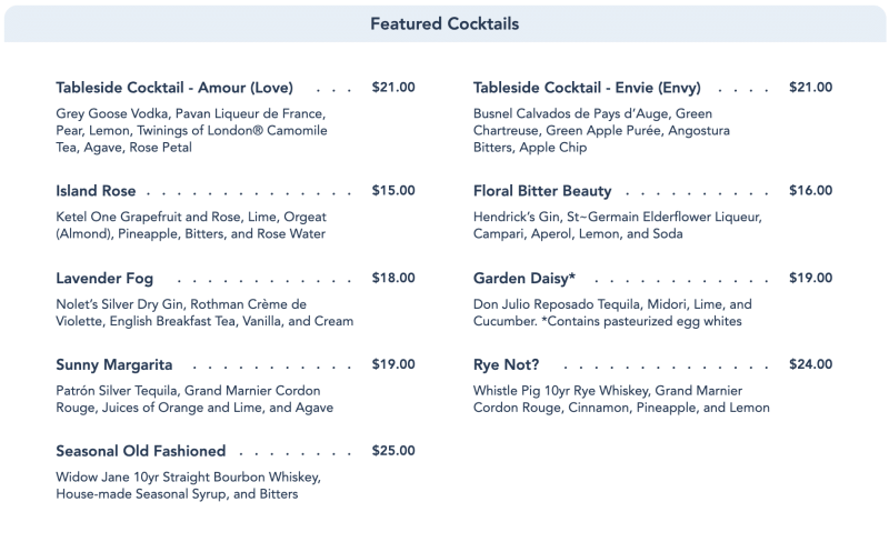 Enchanted Rose Menu - Featured Cocktails