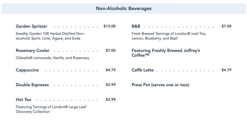 Enchanted Rose Menu - Non-Alcoholic Beverages