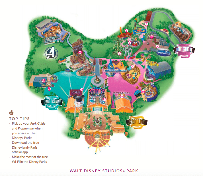 Cars Route 66 on Walt Disney Studios Park Brochure for Disneyland Paris